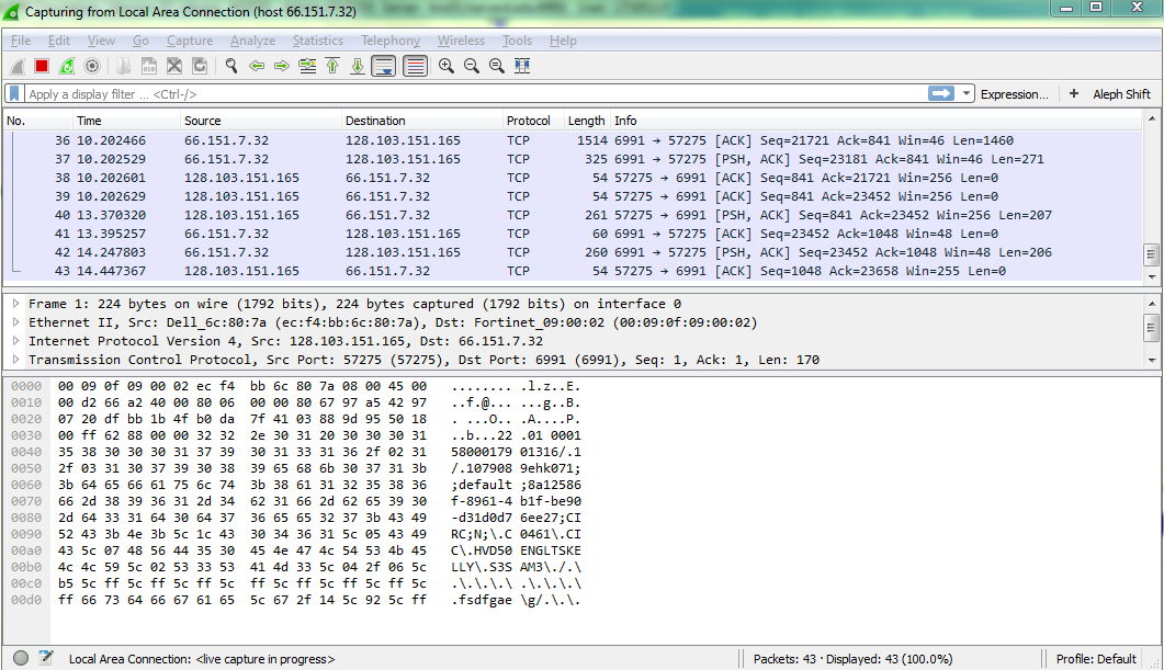 Monitor Aleph Network Traffic using Wireshark - Library