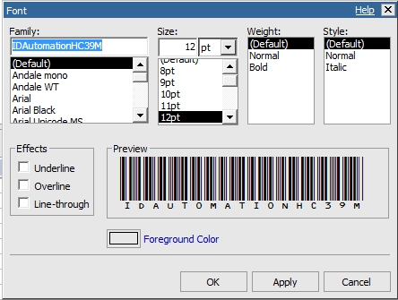 Barcode font output from Cognos - Harvard Library Reporting